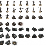 031-Commander_model_and_posed_units_for_Prototype_War_Game_Units_-_Jeep_and_sandbag_models_by_Gavin_Rich